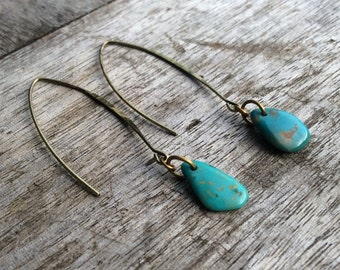 Turquoise earrings,Natural turquoise earring, Fashion earrings, Women earrings,Bohemian earrings,Freeform turquiose stones, Wishbone hooks.