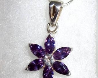 Vintage deep purple amethyst marquis flower/star shaped pendant set in 925 Sterling silver