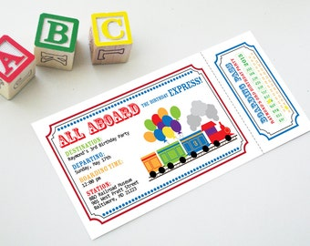 """Train Conductor Birthday Express Printable Ticket Party Invitation - """"All Aboard"""" Custom Personalized Invite"""