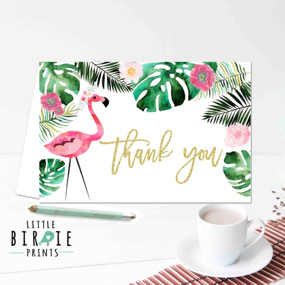 Excellent Flamingo thank you card Tropical thank you card Birthday thank NR45