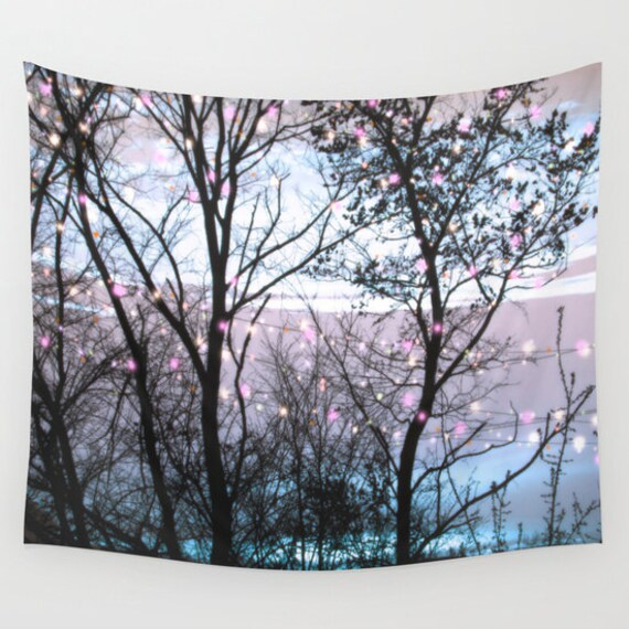 LIGHTS in The Woods Wall Tapestry, Trees, Night Sky Home Decor, Nature Tapestry, Dorm, Office, Whimsical Tree Branches, Woodland, Magic
