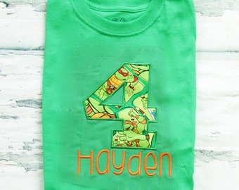 Boy fourth birthday Ninja Turtle themed 4th birthday shirt Toddler boy fourth birthday green Shirt with Boy number 4 Turtle Shirt