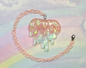 Fairy Kei Necklace, Magical Girl Necklace, Kawaii Heart Necklace, 80s Necklace, Drippy Heart Necklace, Sweet Lolita , Melty Heart