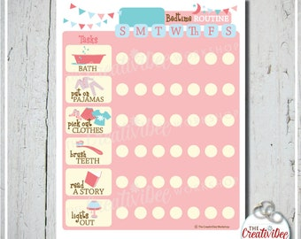 Bedtime Routine Chart | Daily | EDITABLE NAME | Printable Chart | Pink | Evening Routine | Girl's Chart | Chore Chart | Children's Chart
