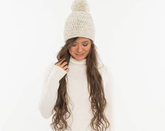 Chunky Knit Fitted Hat Pom Pom Wool Beanie, Ribbed Knitted Slouch Toque, Textured Women's Warm & Cozy Handmade Winter Accessory, WHEAT
