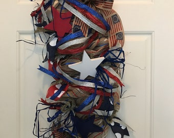 Stars and Stripes, Old Glory, Patriotic, Red, White, Blue, Memorial Day, Fourth of July, Summertime, Wreath