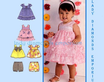 Simplicity 1471 Baby Girls Dress Top Bloomers, Infants size XXS - L, NB-18 months Childs Babydoll Easter Party Dress Sewing Pattern Uncut FF