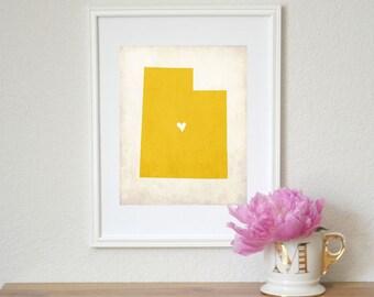 Utah Rustic State Map. Personalized Utah Map. Wedding Map. Wedding Gift. Anniversary Gift. Housewarming Gift. Art Print 8x10.