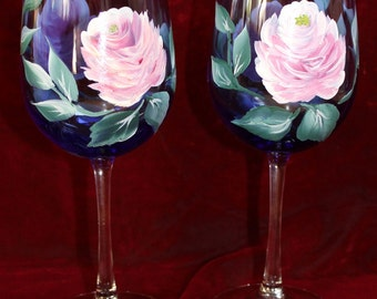Hand Painted Wine Glasses - Vintage Rose on Cobalt Blue glass (Set of 2 )