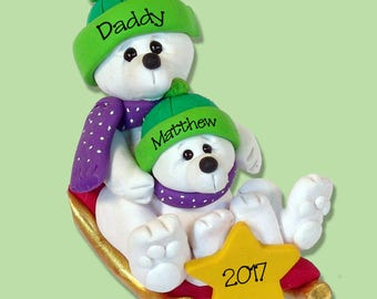 Polar Bear Parent with Child on SLED HANDMADE Polymer Clay Ornament - Personalized Christmas Ornament - Limited Edition