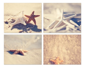 beach photography, starfish collection, beach home decor, ocean photography, fine art photograph, beach decor, starfish art,  beige decor