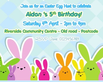Printed Personalised Easter Egg Hunt Birthday Party Invitations x10