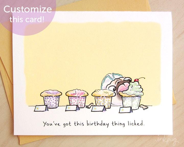 Tiptons Cupcakes Pug Birthday Card Funny Birthday Card