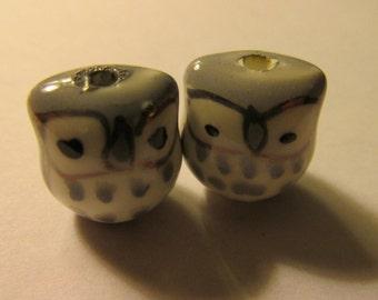 "Gray Ceramic Baby Owl, 1/2"", Set of 2"