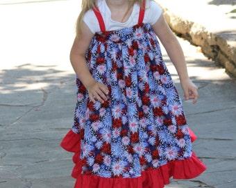 Girls Ruffle Dress -Patriotic Dress - Girls Red dress - Girls White Dress - Girls Blue Dress - Party Dresses For Girls - Girls Summer Dress