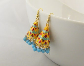 Meenakari Hand Crafted  Jhumka  Dangle Earrings - Red and Yellow with Blue Beads