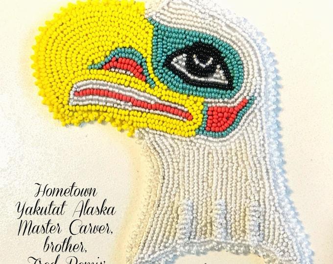 "Alaska Tlingit Bald Eagle Beaded Regalia Applique-4x4-1/2"" in Czech Glass Beads"