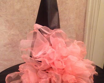 Coral Pink Witch Hat - Coral Pink Organza - Costume Witch Hat