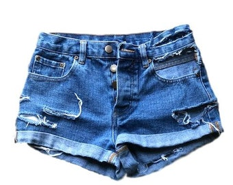 F21 Ripped Dark Denim shorts