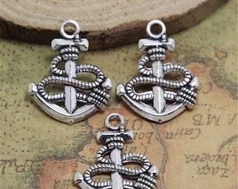 20pcs Anchor charms silver tone Anchor Charm Pendants18x24mm ASD0404