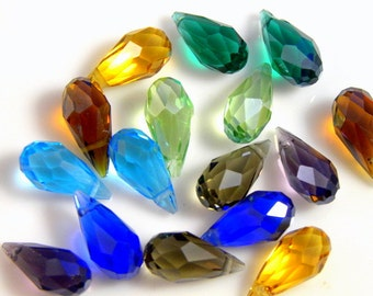 Mixed Color Crystal Faceted Briolette Teardrops, 7X14MM - 4 pcs