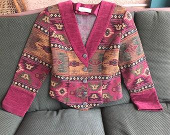 Southwest style jacket, vintage southwest style, boho jacket, Santa Fe style jacket