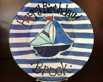 Sailboat Plate - Birthday Plate - Personalized Happy Birthday Plate - Hand Painted Plate - Special Occasion Plate - Personalized Kids Plate
