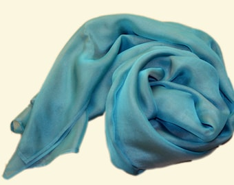 silk scarf iridescenting in turquoise and taupe