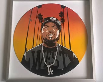 West Coast painted on Vinyl Record - Framed and ready to hang