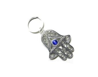 Hamsa Keychain Yoga Accessories Evil Eye Protection Blue Hand Of Fatima Bag Charm Keychaine Bag Accessories Birthday Gift For Her Under 15