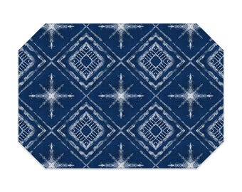 Shibori style placemat, navy blue placemat, star pattern, cloth placemat, washable polyester fabric placemat, table linens