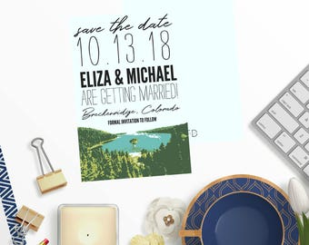Save the Date | Pine Tree Save the Date | Mountain Save the Date | Lake Save the Date | Outdoor | Wedding Invitation | Pine Trees | Mountain