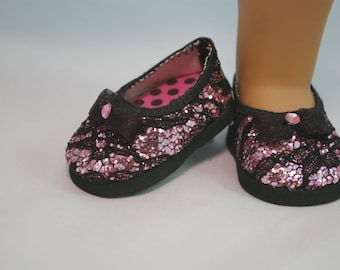 Ballerina flats SHOES for American Girl or 18 inch doll, Black LACE Pink Sparkle with Black bow and Rhinestone trim