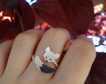 Dainty ring, Fox ring, Sterling silver ring, Fox jewelry, Adjustable ring, Open ring, Women ring, Girl ring, Cute silver ring, Perfect gift
