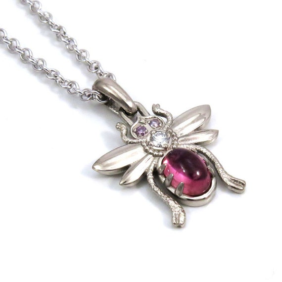 White Gold Bug Pendant with Pink Tourmaline Cabochon and Purple and White Diamonds