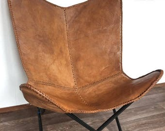 Leather butterfly hand made chair -RICH BROWN
