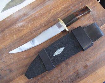 Fine Bowie Knife 5160 Steel Blade, Water Buffalo and Desert Ironwood Handle With Ray Skin and Leather Sheath.  Made In the USA