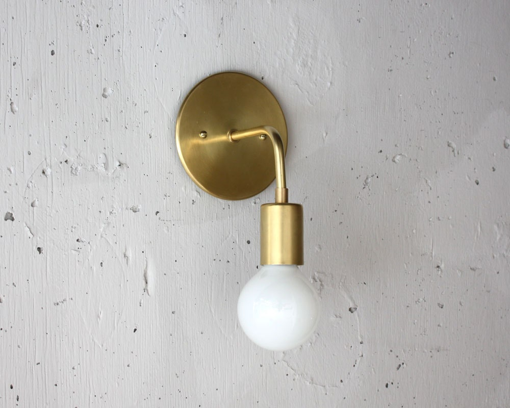Modern brass sconce roy simple wall light mid century zoom aloadofball Choice Image