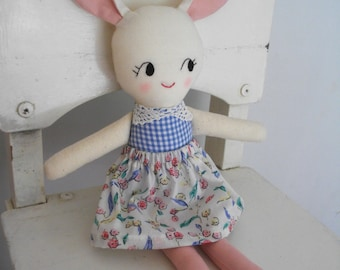 SWEET BUNNY RAGDOLL -  Handmade cloth doll rabbit plushie rag doll - Made to Order