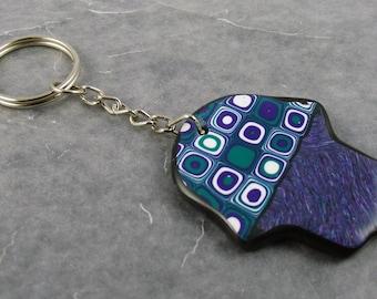 Handmade Hamsa Hand Gustav Klimt, Polymer Clay Keychain, Purple and Blue Keychain, Talisman, Mom Gift, Gift for Her, Bridesmaid Gift