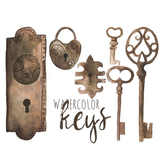 Watercolor Locks Clip Art Keys Clipart Vintage And