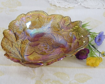 Carnival Glass Berry Bowl Iridescent Bowl Amber