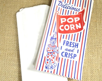 Vintage Style Clown Popcorn Bags - Red and White Stripes - Gusseted 4 x 1 1/2 x 8 Inches - set of 50