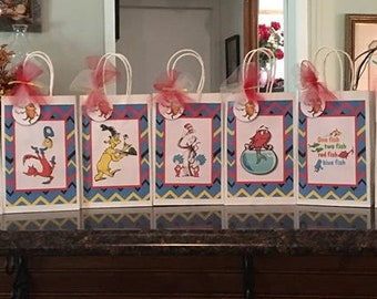 9 Dr Seuss Inspired Cat in the Hat Party Favor Bags
