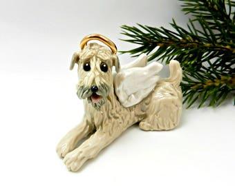 Angel Soft Coated Wheaten Terrier Porcelain Christmas Ornament Figurine Memorial
