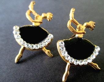 BALLERINA EARRINGS * Enamel And Rhinestones * Gift For Lady * Gift For Dancer * Fun Earrings