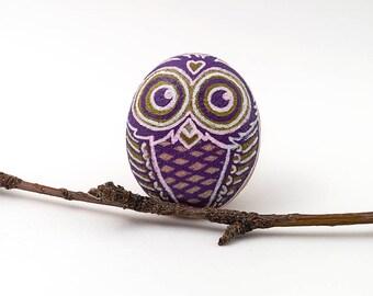 Owl Decor | Purple Owl Stone | Owl Stone | Owl Gift | Hand Painted Owl Rock | Stone Owl | Owl Art | Owl Rock | Unique Owl Art | Animal Lover