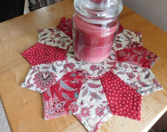 Red Paisley themed Reversible Candlemat; Miniature Quilt; Small Quilt;Table mat,