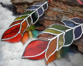 """Stained Glass Rainbow Feather Suncatcher,6"""",Glass Art,Native American,Glass Feather,Ceremonial,Spirit,Tribal,OOAK,Birthday Gift,Mixed Colour"""