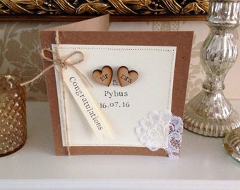 Personalised Wedding Card, Rustic, Shabby Chic, Lace, Mr & Mrs Card, Civil Ceremony Card *HANDMADE*